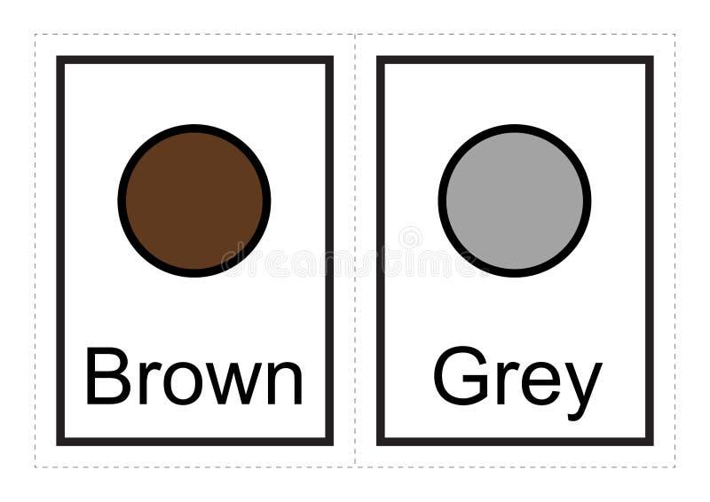 I flash card di colore per i bambini imparano circa i colori ed i loro nomi con questi stampabili semplici illustrazione vettoriale