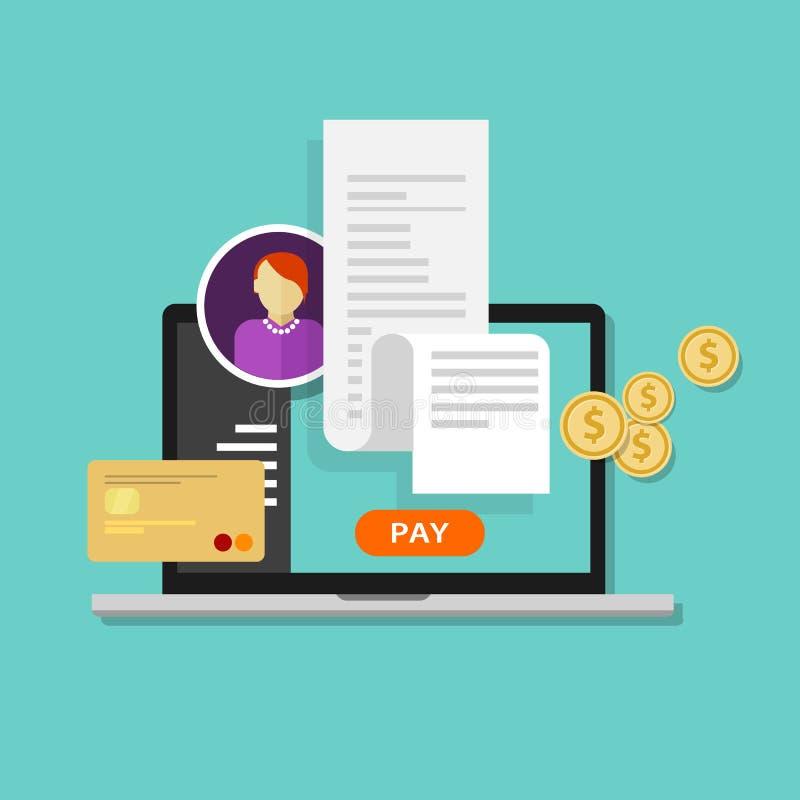 I fogli paga tassano il pagamento online di fatturazione della ricevuta royalty illustrazione gratis