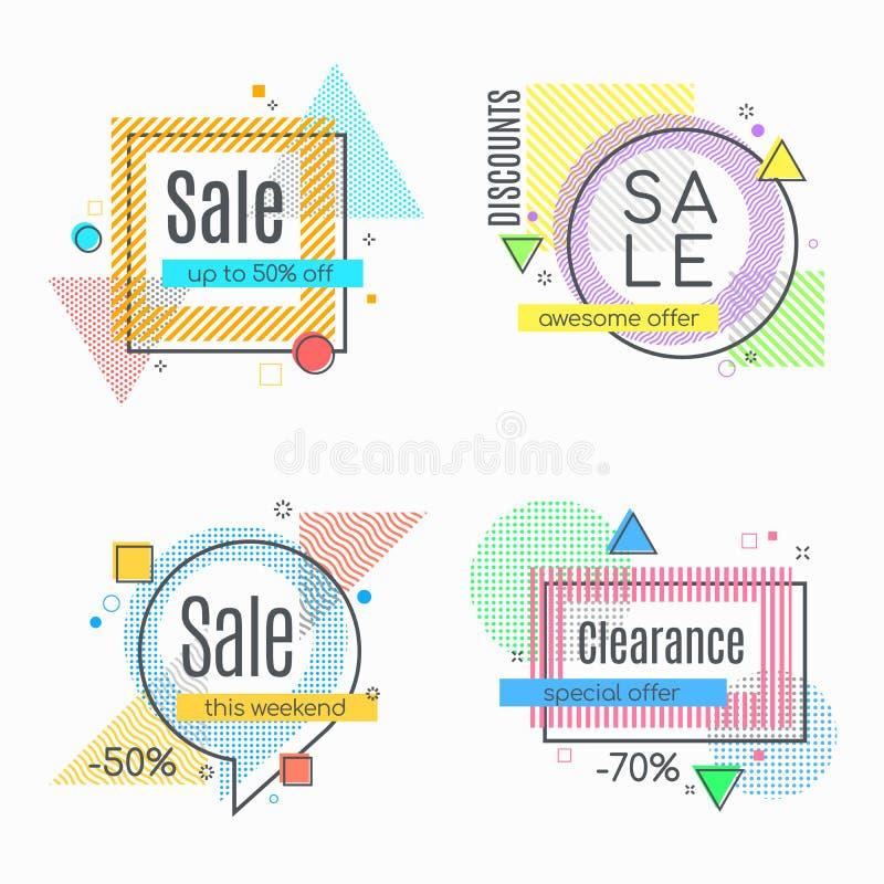 I frami astratti variopinti da vendere hanno disegnato le insegne, le etichette, etichette illustrazione di stock