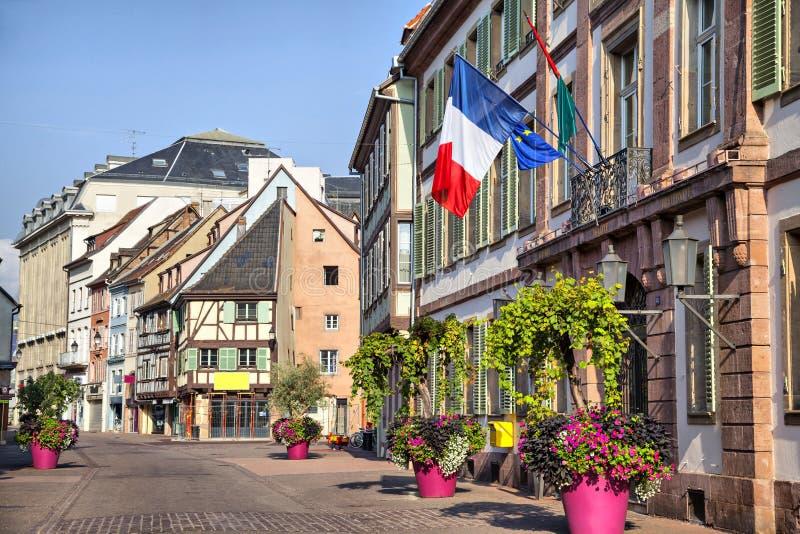 I francesi diminuiscono sulla costruzione a Colmar immagine stock libera da diritti