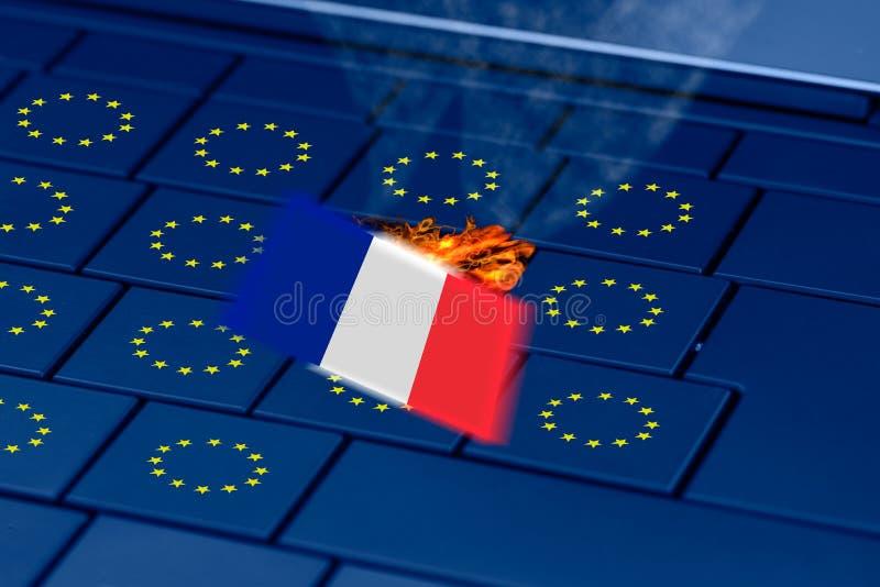 I francesi inbandierano l'esplosione in una tastiera del pc durante le elezioni francesi illustrazione vettoriale