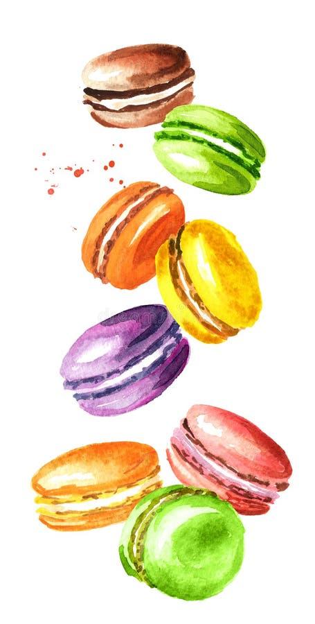 I francesi tradizionali di caduta agglutinano il macaron o il maccherone, biscotti di mandorla variopinti Illustrazione disegnata royalty illustrazione gratis