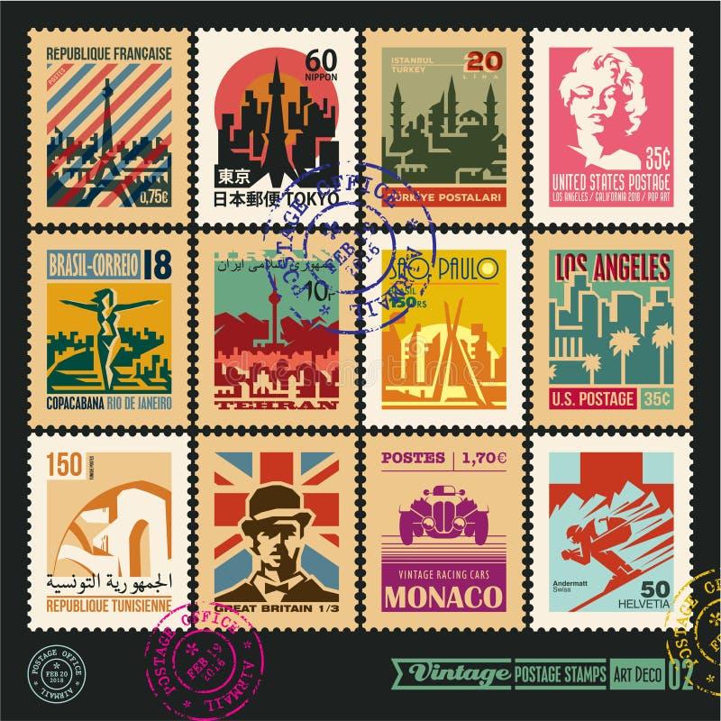 I francobolli, le città del mondo, le etichette d'annata ed i distintivi di viaggio messi, la guarnizione ed il timbro postale pr illustrazione di stock