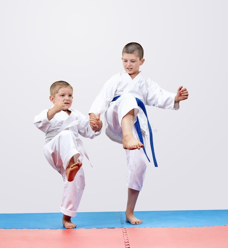 I fratelli dei ragazzi di Karateka stanno battendo la gamba di scossa in avanti immagini stock