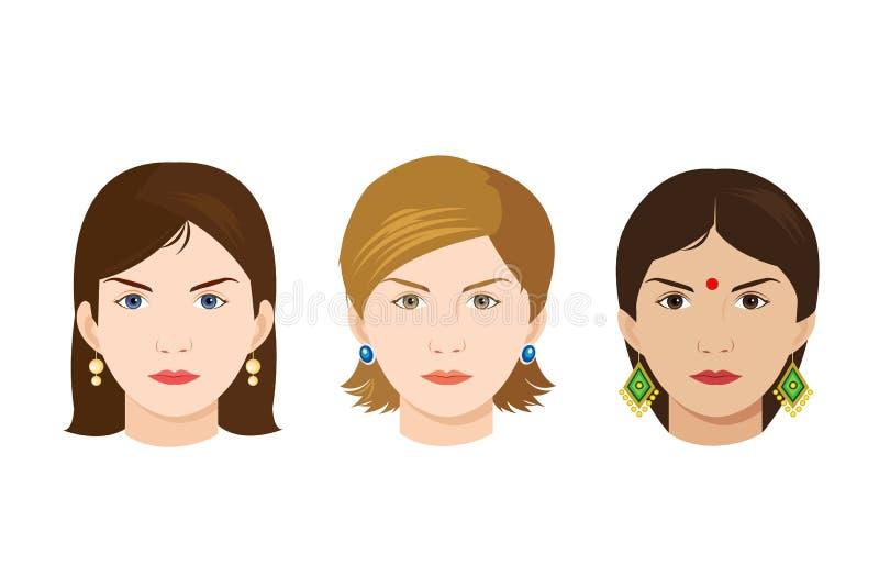 I fronti di 3 donne delle nazionalità differenti illustrazione di stock