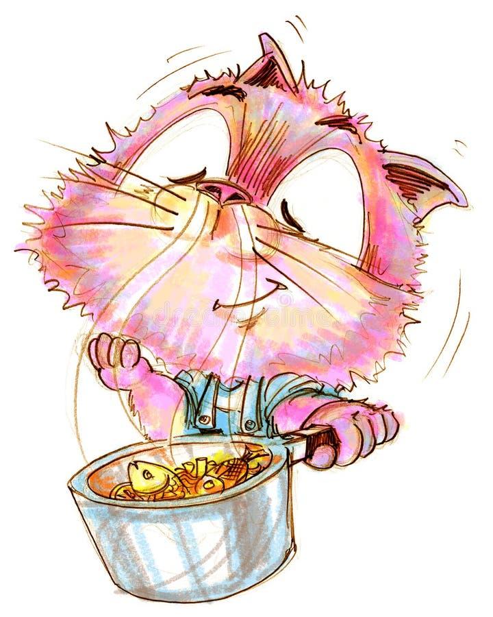 I frutti di mare del pesce del gatto del cuoco unico che cucinano nell'odore del vaso sono saporiti illustrazione di stock