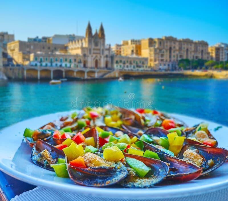 I frutti di mare freschi, st Julian, Malta fotografia stock libera da diritti