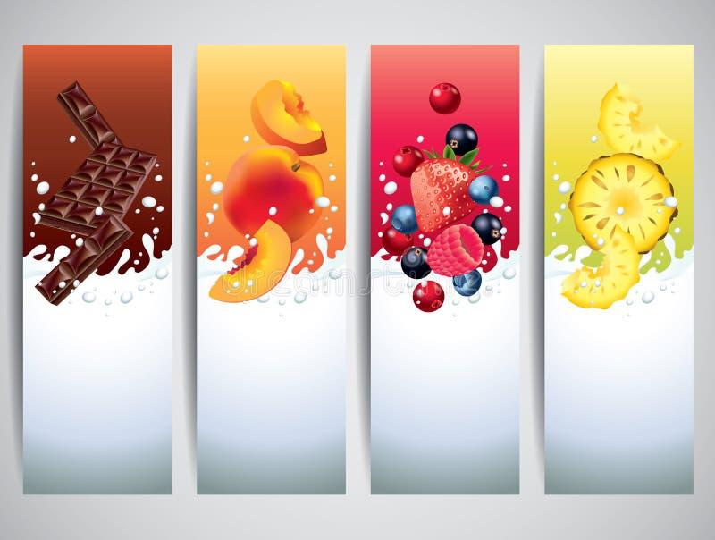 I frutti in latte spruzzano le insegne di vettore illustrazione di stock