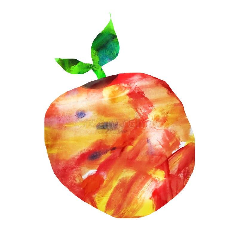 I frutti sono fatti nella tecnica di collage del fondo dell'acquerello Disegnato a mano Mela decorativa su un bianco isolato illustrazione di stock