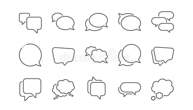 I fumetti allineano le icone Messaggio sociale di media, bolle comiche e chiacchierata Insieme lineare Vettore illustrazione di stock