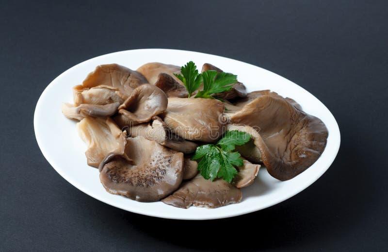 I funghi di ostrica marinati con prezzemolo coprono di foglie su un piatto fotografia stock
