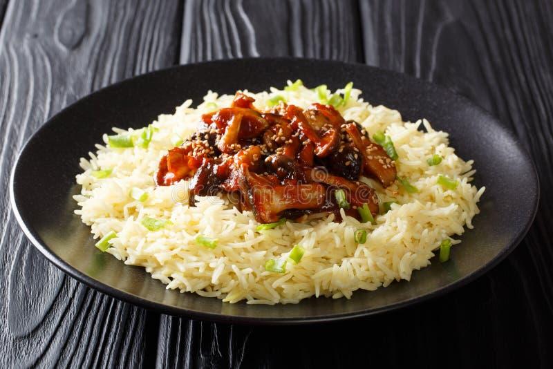 I funghi di shiitake lustrati alimento asiatico organico con i semi di sesamo sono servito con il primo piano del riso su un piat immagine stock libera da diritti