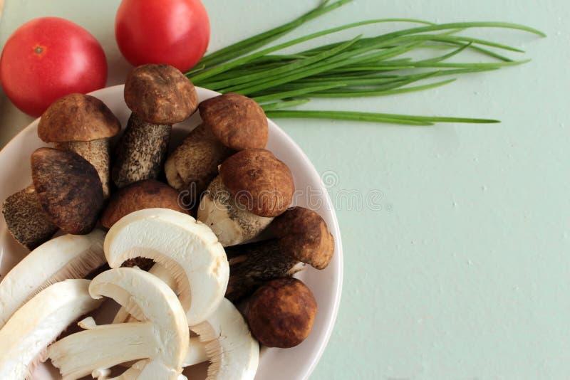 I funghi nel piatto e cipolla verde immagini stock libere da diritti