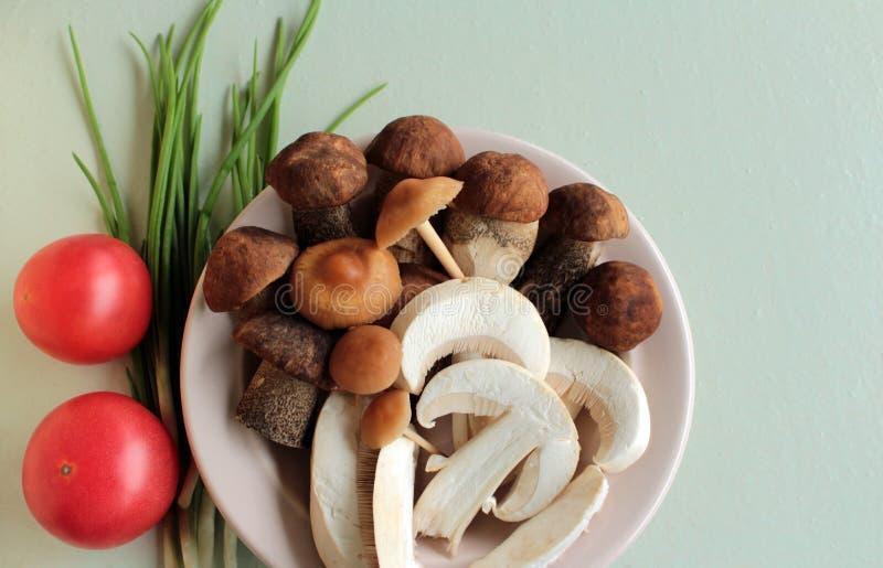 I funghi nel piatto e cipolla verde fotografie stock