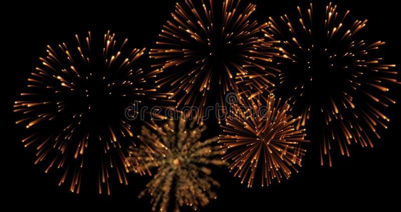 I fuochi d'artificio dorati della celebrazione della scintilla di lampeggiamento dell'estratto si accende su fondo nero, buon ann fotografia stock libera da diritti