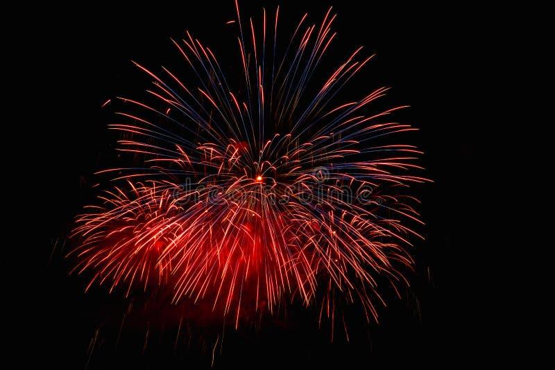 I fuochi d'artificio si accendono sul cielo nell'esposizione dell'abbagliamento di notte fotografia stock