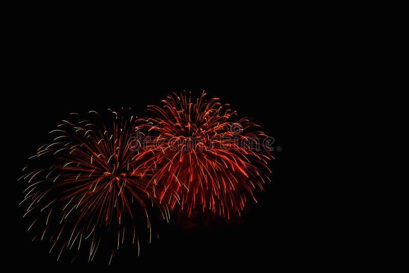 I fuochi d'artificio si accendono sul cielo nell'esposizione dell'abbagliamento di notte immagini stock libere da diritti