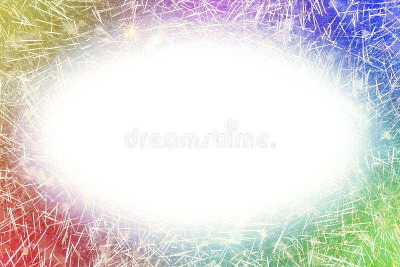 I fuochi d'artificio variopinti con i bordi d'ardore ovali bianchi copiano lo spazio illustrazione di stock