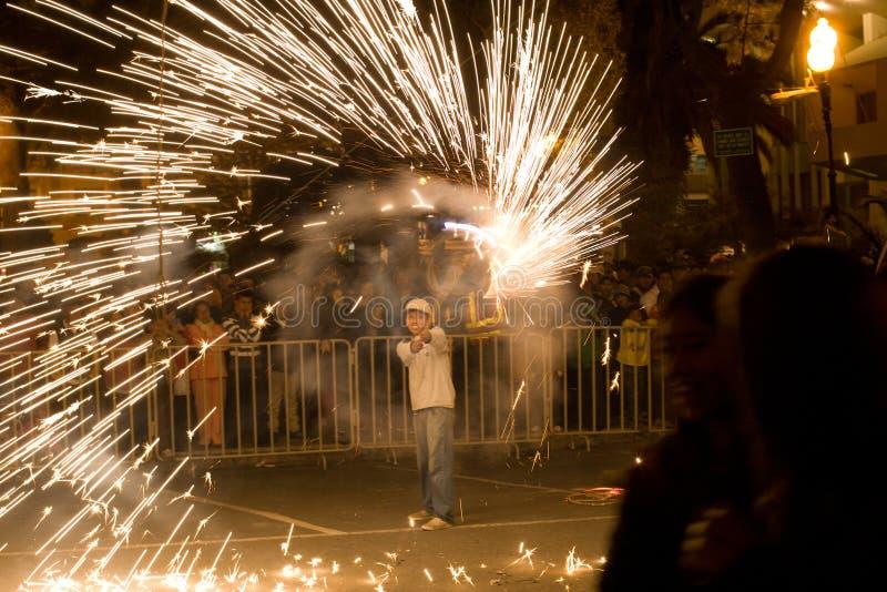 I fuochi d'artificio video a Loja Ecuador. immagine stock libera da diritti