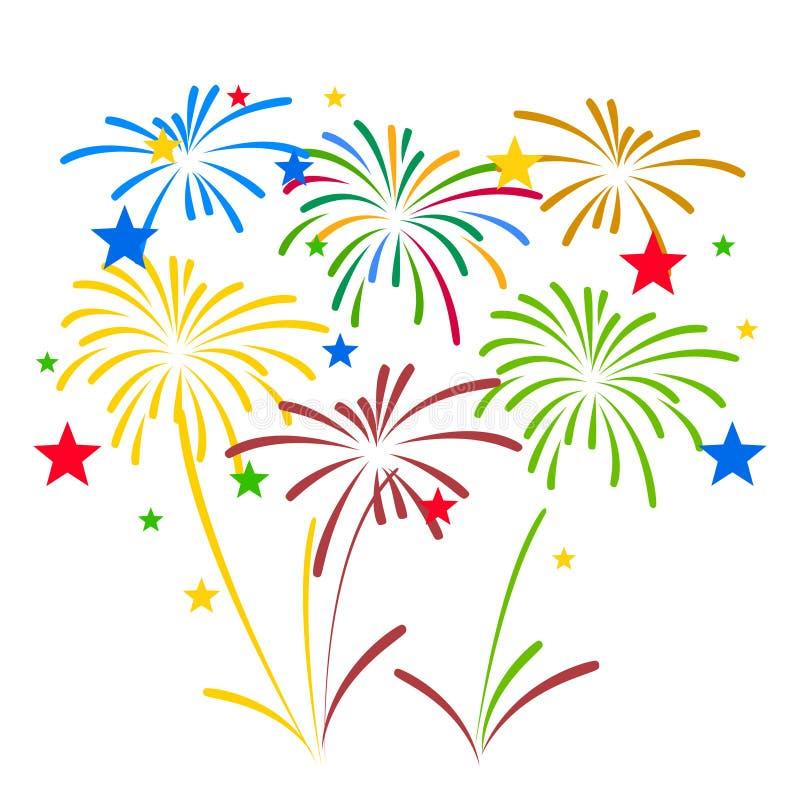 I fuochi d'artificio visualizzano per il nuovo anno e tutta l'illustrazione di vettore della celebrazione illustrazione vettoriale