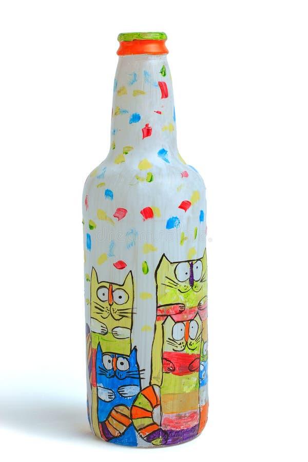 I gatti colorati attingono la bottiglia di vetro DIY fotografia stock libera da diritti