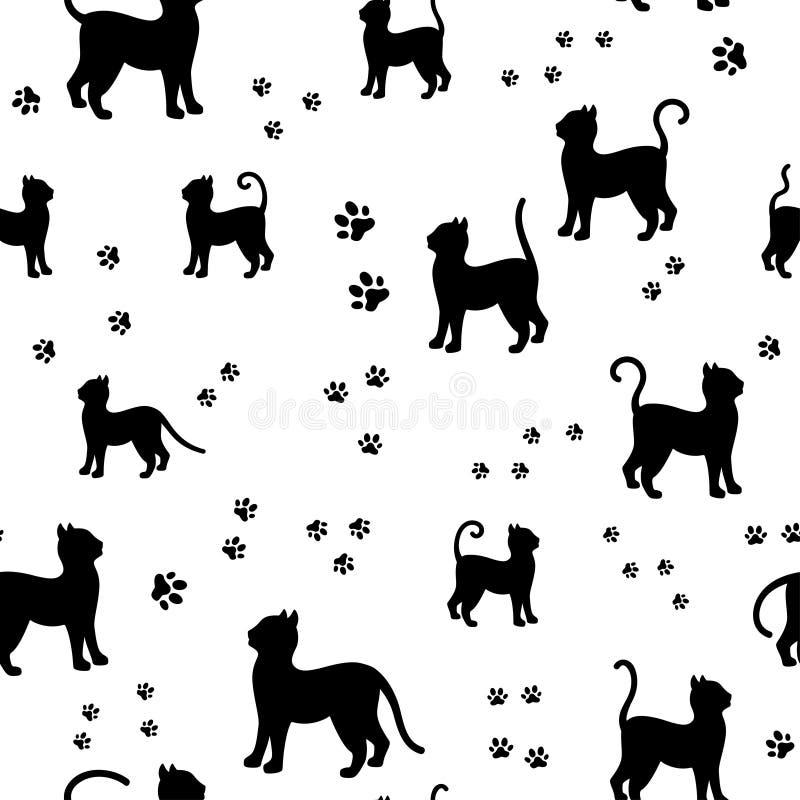 I gatti neri e le tracce profilano il modello senza cuciture del tessuto fotografia stock libera da diritti