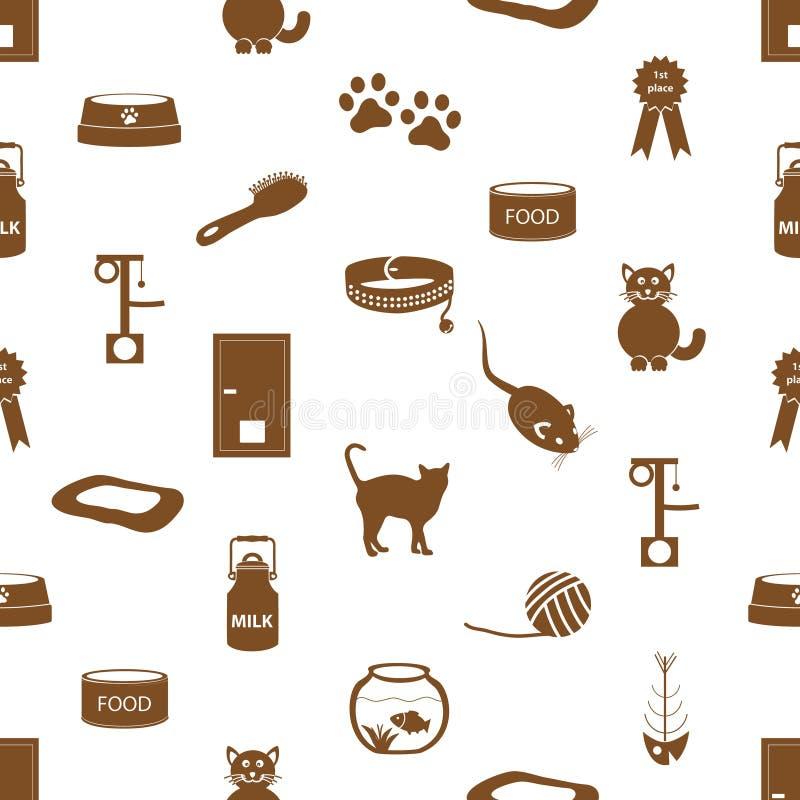 I gatti pets il modello senza cuciture eps10 delle icone semplici degli oggetti royalty illustrazione gratis