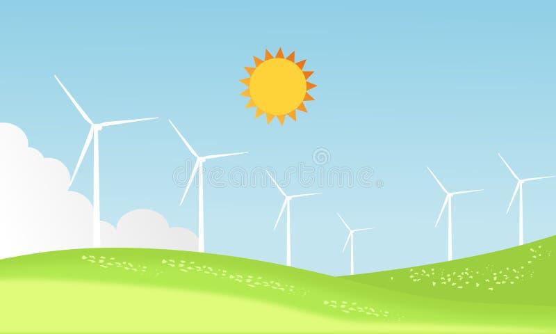 I generatori eolici coltivano su un paesaggio soleggiato del giorno di estate e su una montagna dell'onda verde Progettazione del royalty illustrazione gratis