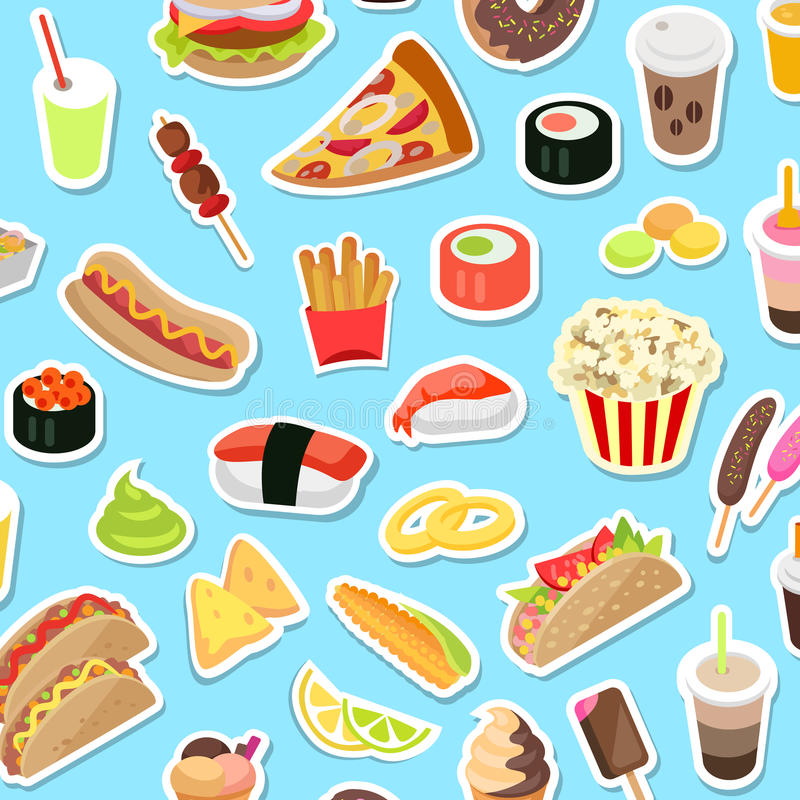 I generi del ciarpame e digiunano di alimento sparsi sul blu illustrazione di stock