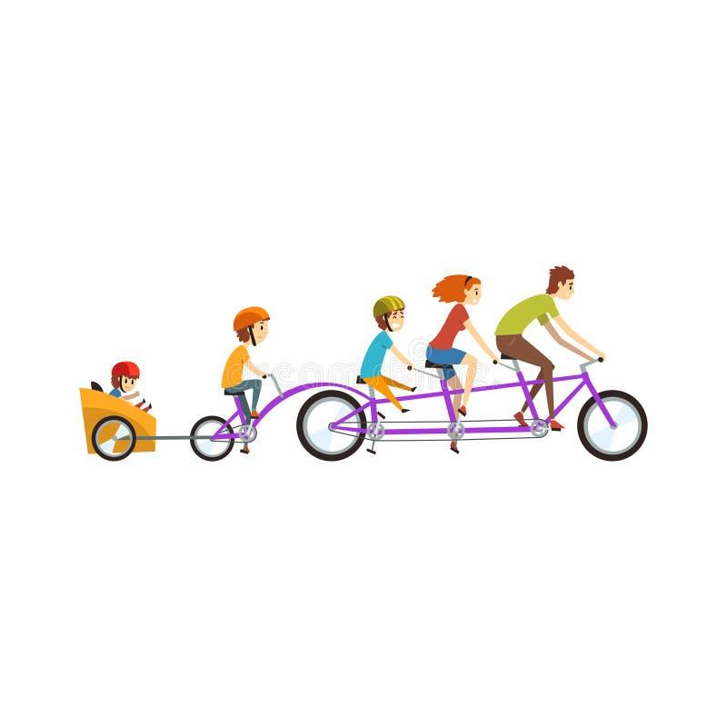 I genitori che guidano sulla bicicletta in tandem con i loro tre bambini, famiglia felice, la ricreazione con i bambini vector l' illustrazione vettoriale