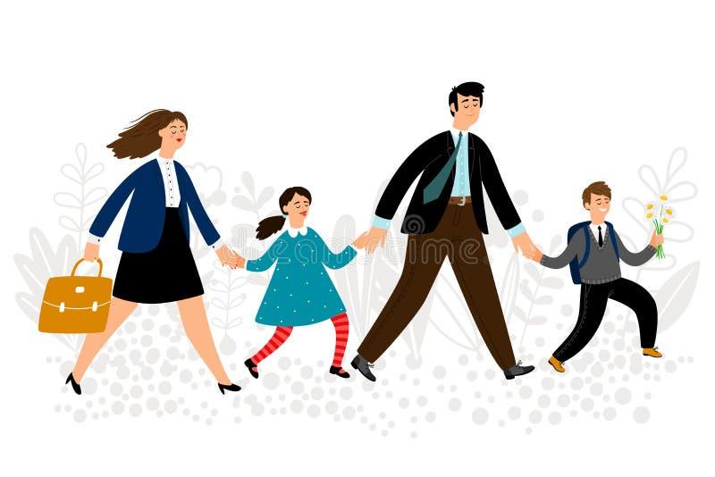 I genitori conducono i bambini all'illustrazione di vettore della scuola Di nuovo al concetto del banco illustrazione di stock
