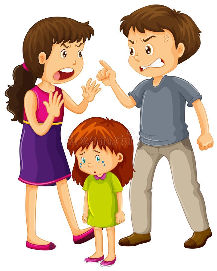 I genitori discutono e grida della bambina illustrazione vettoriale
