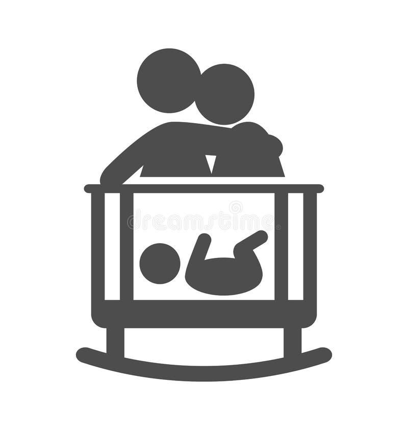 I genitori mettono a letto l'icona piana del pittogramma del bambino su wh illustrazione vettoriale