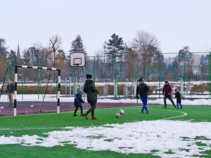 I genitori stanno giocando a calcio il calcio con i loro bambini fotografia stock libera da diritti