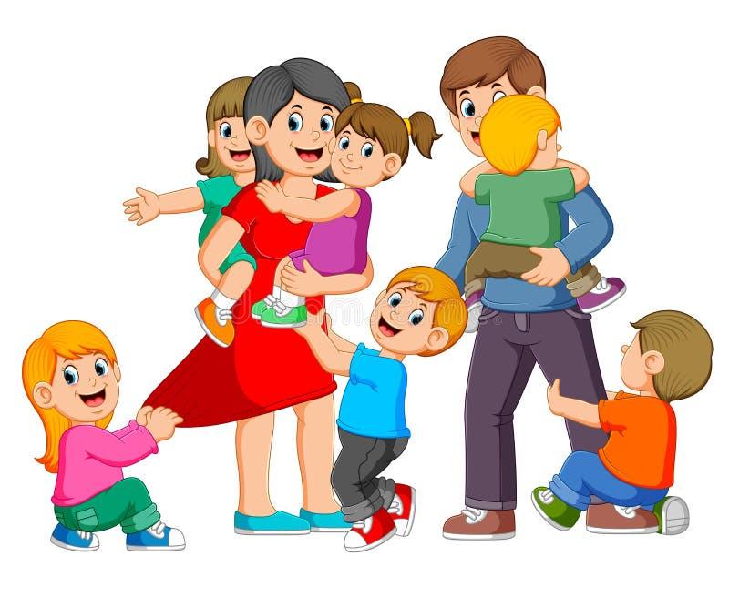 i genitori stanno giocando con i loro bambini e sono felici illustrazione di stock
