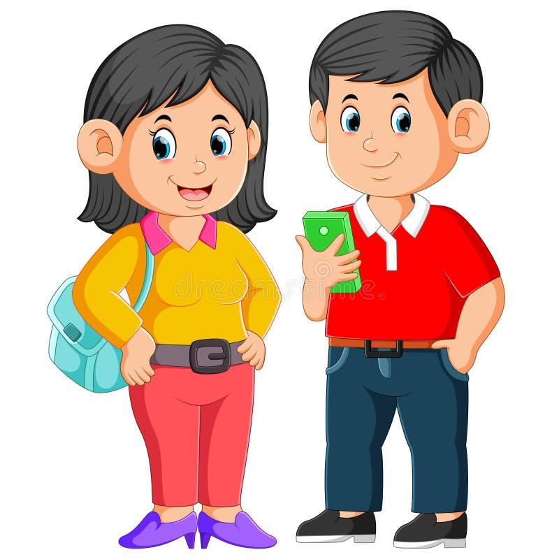 i genitori stanno posando prima che stiano andando per lavoro illustrazione di stock