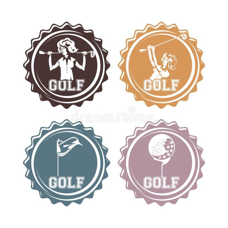 I giocatori di golf sigilla i bolli illustrazione di stock