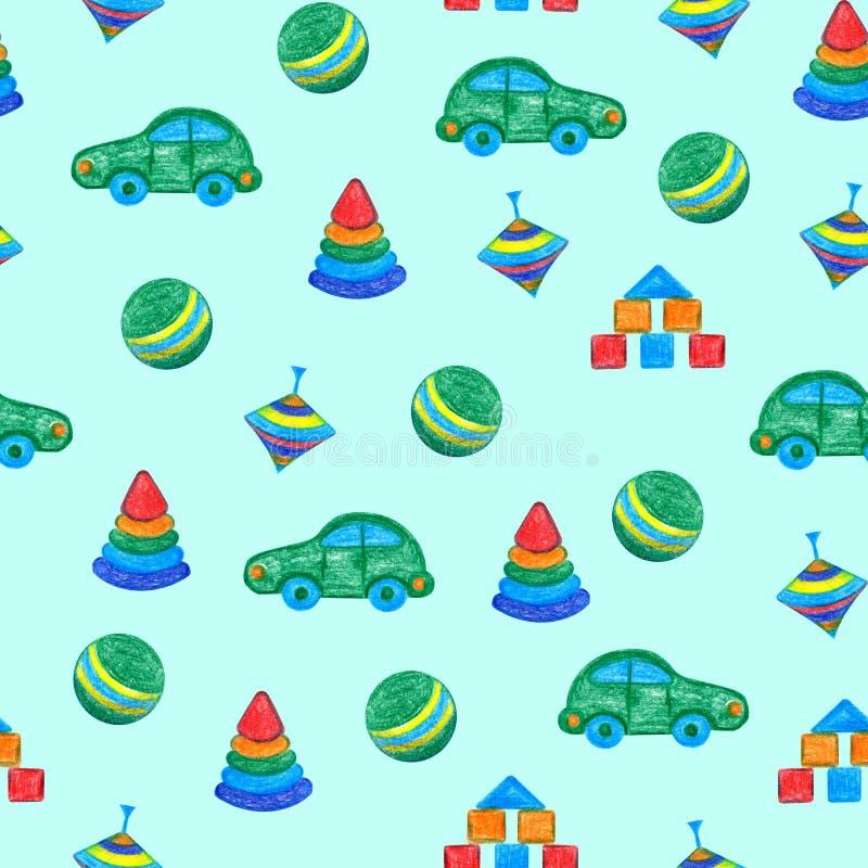 I giocattoli del bambino passano il disegno illustrazione di stock