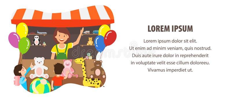 I giocattoli della peluche immagazzinano il modello piano di vettore dell'insegna di web illustrazione vettoriale