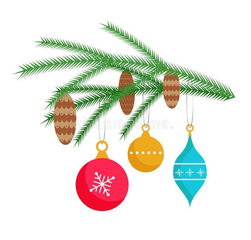 I giocattoli svegli di hristmas del  di Ñ appendono su un ramo dell'albero di Natale illustrazione vettoriale
