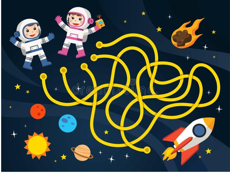 I giochi del labirinto trovano il percorso per l'astronauta con la raccolta di tema dell'astronave e dello spazio illustrazione vettoriale