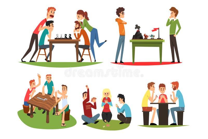 I giochi della Tabella mettono, amici che giocano il domino e gli scacchi, un gruppo di amici per passare il tempo vector insieme illustrazione vettoriale