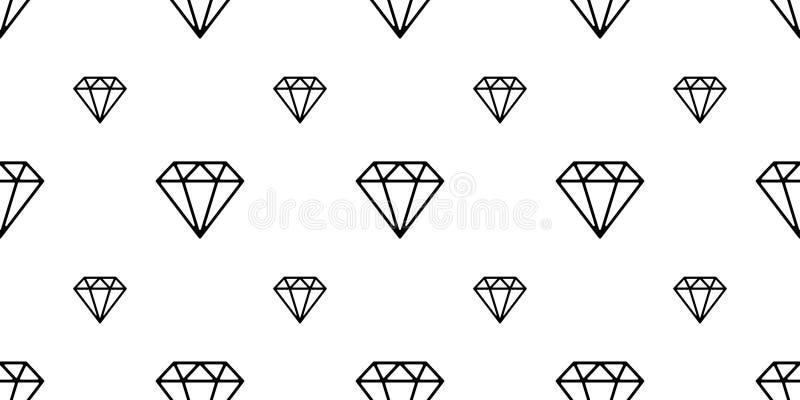 I gioielli di cristallo del modello senza cuciture della gemma del diamante hanno isolato il bianco del fondo della carta da para illustrazione vettoriale