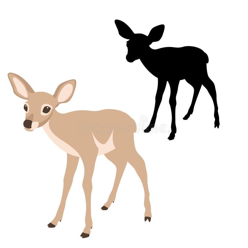 I giovani cervi anneriscono il profilo piano di stile dell'illustrazione di vettore della siluetta royalty illustrazione gratis