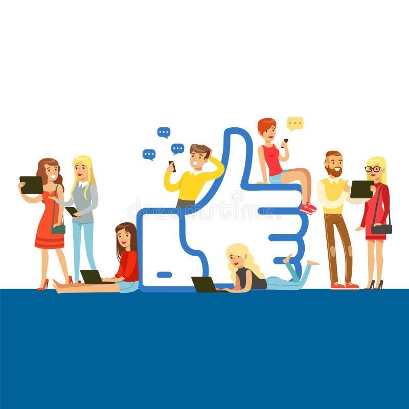 I giovani che stanno e che si siedono vicino al gigante gradiscono il simbolo, l'uomo e la donna che per mezzo degli aggeggi mobi illustrazione di stock
