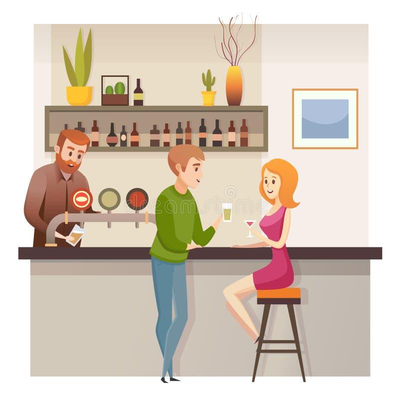 I giovani coppia la data in ristorante Antivari o nel vettore del pub illustrazione di stock