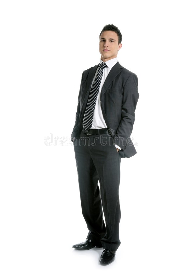 I giovani dell'uomo d'affari si levano in piedi in su, integrale su bianco fotografia stock