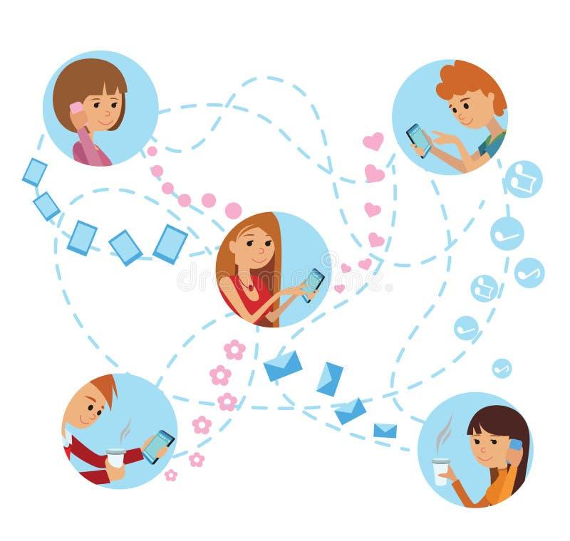 I giovani di stile piano affrontano il concetto infographic di comunicazioni sociali online di media illustrazione vettoriale