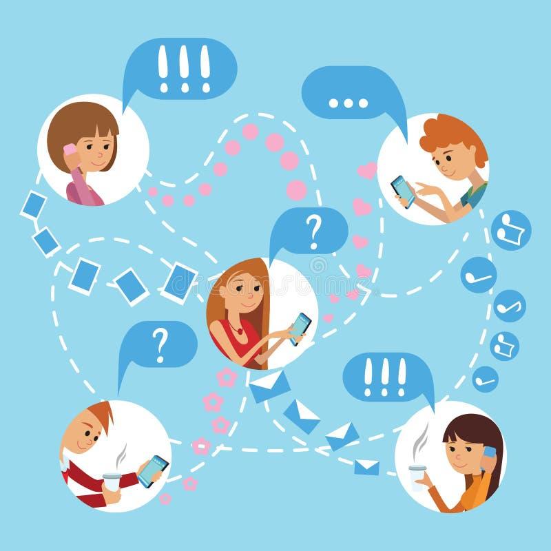 I giovani di stile piano affrontano il concetto infographic di comunicazioni sociali online di media illustrazione di stock