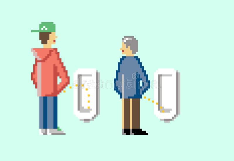 I giovani e gli uomini anziani stanno orinando in una toilette illustrazione vettoriale